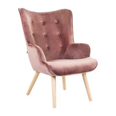 Modern bársony fotel, púder - KIERSTEN