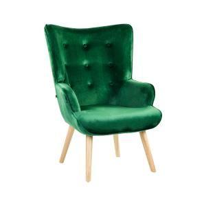Modern bársony fotel, sötétzöld - KIERSTEN