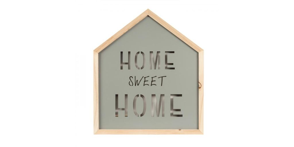 Világító fali dekoráció Home sweet Home felirattal, LED-es, házikó - FJORD