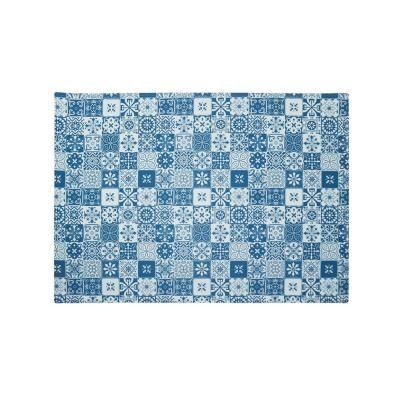 Mozaik mintás szőnyeg, 190x135 cm - MOZAIQUE EN BLEU