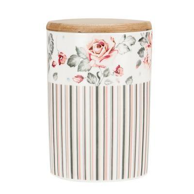 Porcelán tároló fa tetővel - rózsa mintával - SWISS COTTAGE
