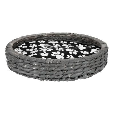 Fonott cicafekhely párnával, 41 cm, szürke-fekete - SAUVAGE