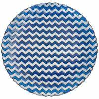 Üveg tányér sötétkék - CHEVRON