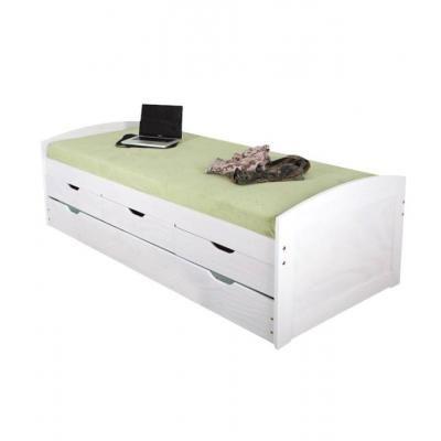 Ágykeret 90x200 cm, kihúzható pótággyal és fiókokkal - BLANCHE NEIGE