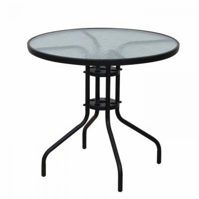 Kerti üveg étkezőasztal, 80 cm, fekete - CASEMANCE