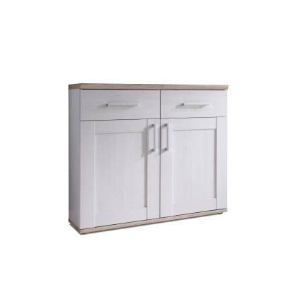 Komód 2 fiókkal és 2 ajtóval, fehér-san remo tölgy - PROVANCE