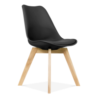 Modern műanyag szék üléspárnával, bükk - fekete - CARDIFF