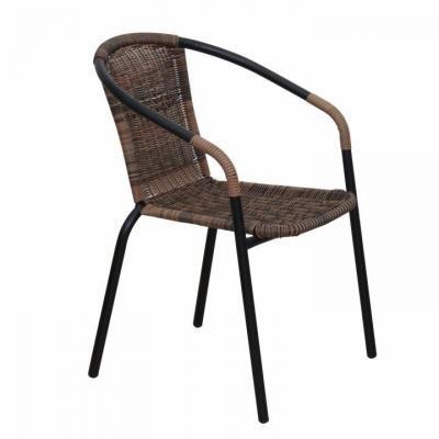 Modern rattan kültéri szék, barna - SAUTERELLE