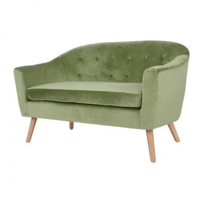 2 személyes bársony kanapé, olívazöld - STOCKHOLM