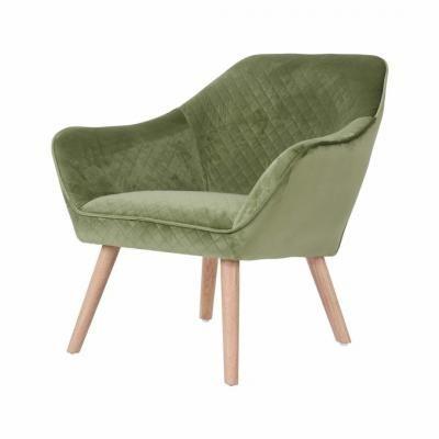 Bársonyszövet fotel, olívazöld - RAIE