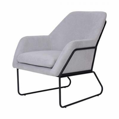 Modern csővázas fotel, világosszürke - RELAX