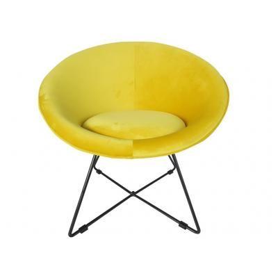Modern kerek fotel, sárga - OVNI