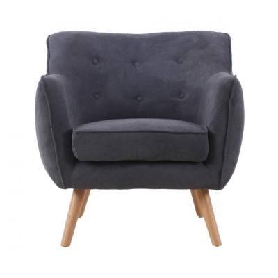 Retro fotel gombokkal, antracit - CINOCHE
