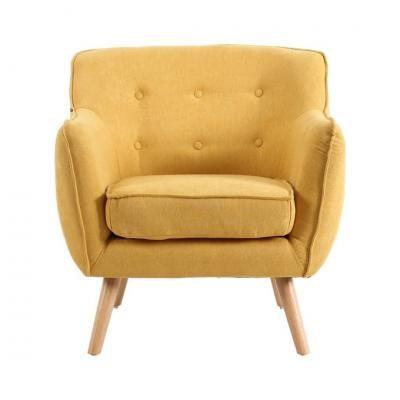 Retro fotel gombokkal, sárga - CINOCHE
